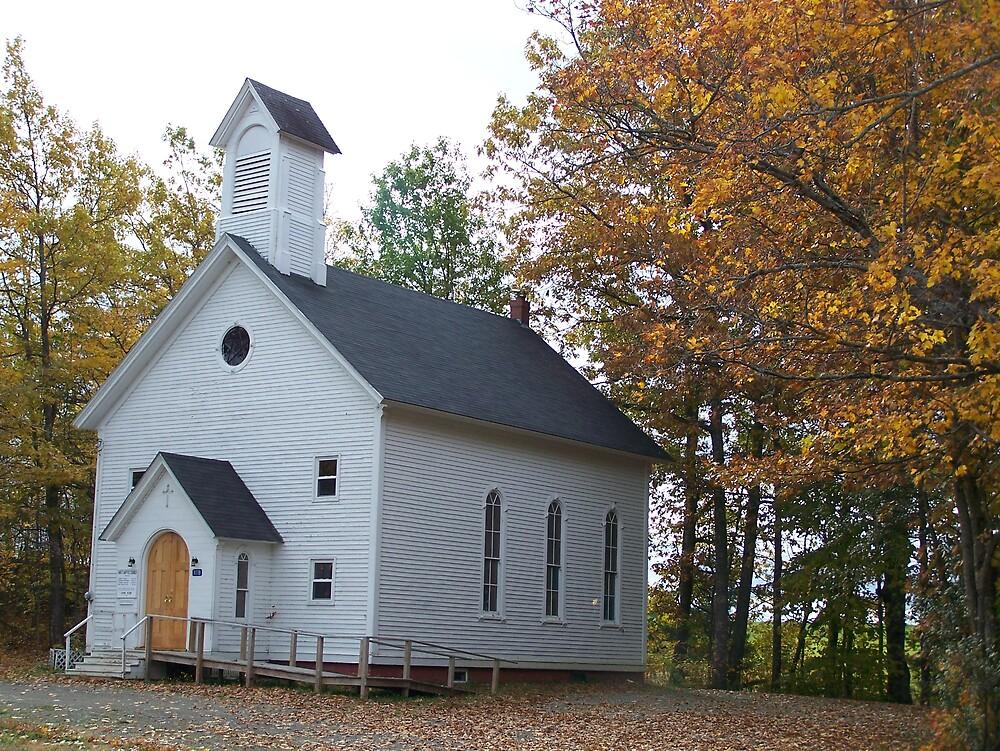 Country Autumn Church by Gene Cyr