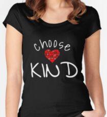 Wählen Sie freundliches Hemd Anti-Mobbing-Herz-T-Shirt Tailliertes Rundhals-Shirt