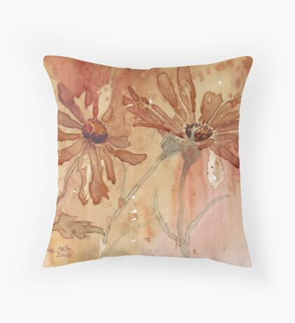 Coffee Daisies Throw Pillow