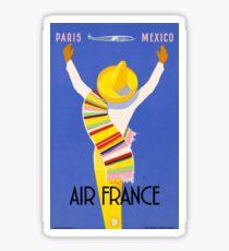 1954 Air France Paris To Mexico Travel Poster Sticker