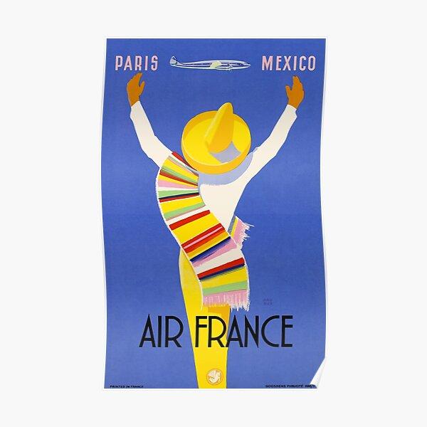 1954 Air France Paris au Mexique Affiche de voyage Poster