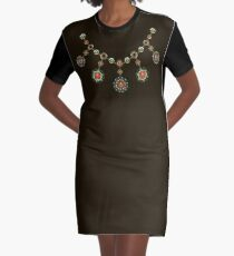 Ethnic Necklace ( Gold Jewelry ) Graphic T-Shirt Dress