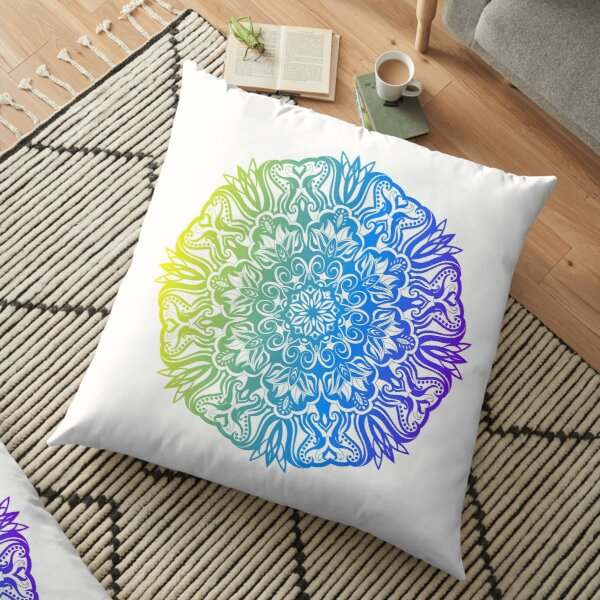 Colorful abstract ethnic floral mandala design Floor Pillow