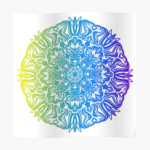 Colorful abstract ethnic floral mandala design Poster