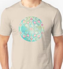 Floral Moroccan in Spring Pastels - Aqua, Pink, Mint & Peach Unisex T-Shirt