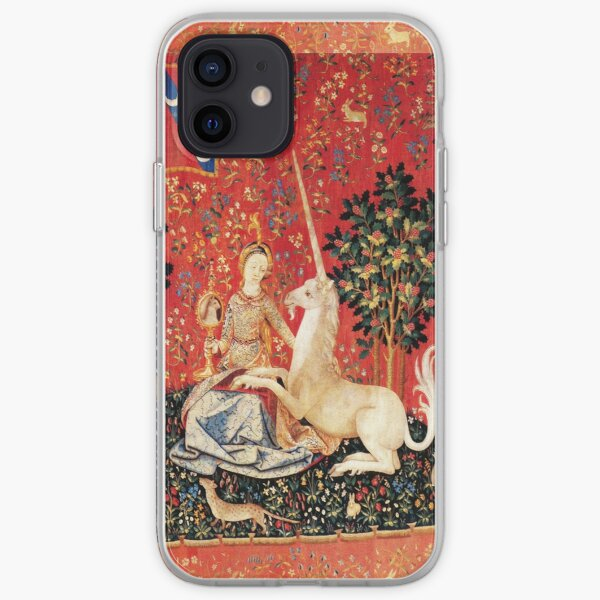 LADY AND UNICORN ,SIGHT  Red Green Fantasy Flowers,Animals iPhone Soft Case