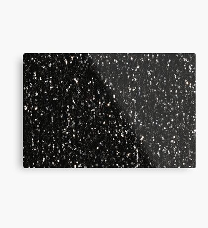 Black and white shiny glitter sparkles Metal Print