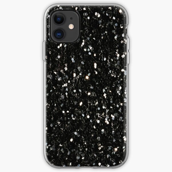 Black and white shiny glitter sparkles iPhone Soft Case