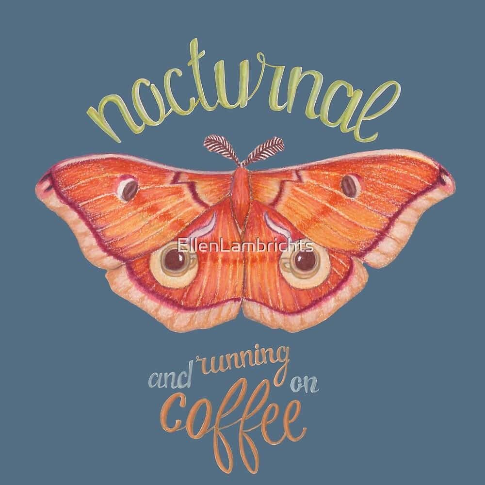 nocturnal orange moth running on coffee on dark background by EllenLambrichts