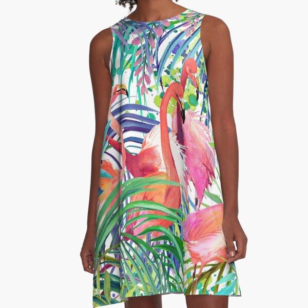 rosa Flamingo A-Linien Kleid