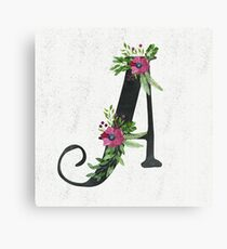Letter A with Floral Wreath Canvas Print