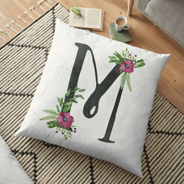 Monogram M with Floral Wreath Floor Pillow