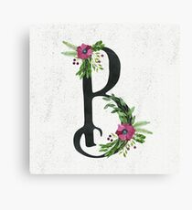 Monogram B with Floral Wreath Canvas Print