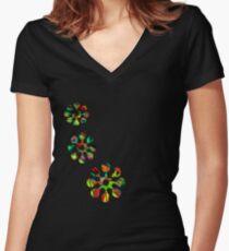 Fun Flower T-Shirt Women's Fitted V-Neck T-Shirt