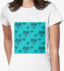 Elbkatz` peacock hearts blue Women's Fitted T-Shirt