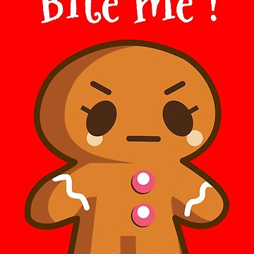 Bite Me Funny Christmas Cookie Angry Gingerbread Man by lcorri