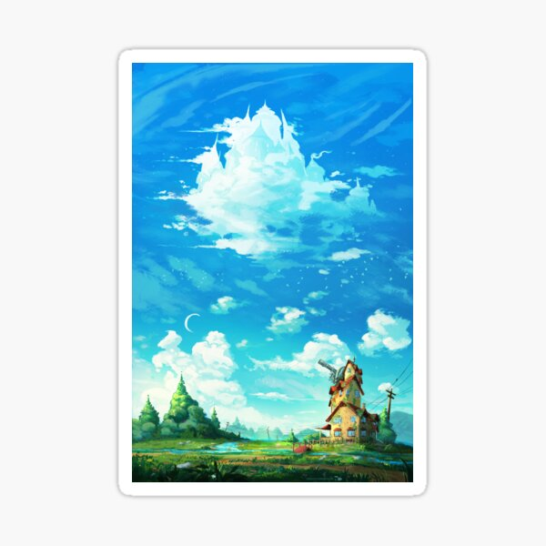 """Look! A castle in the sky!"" Sticker"