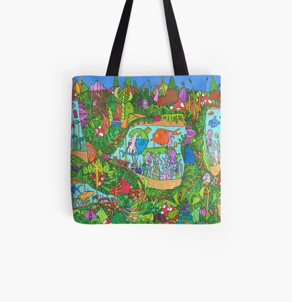 Hidden Animals in Watery Underground Caverns All Over Print Tote Bag