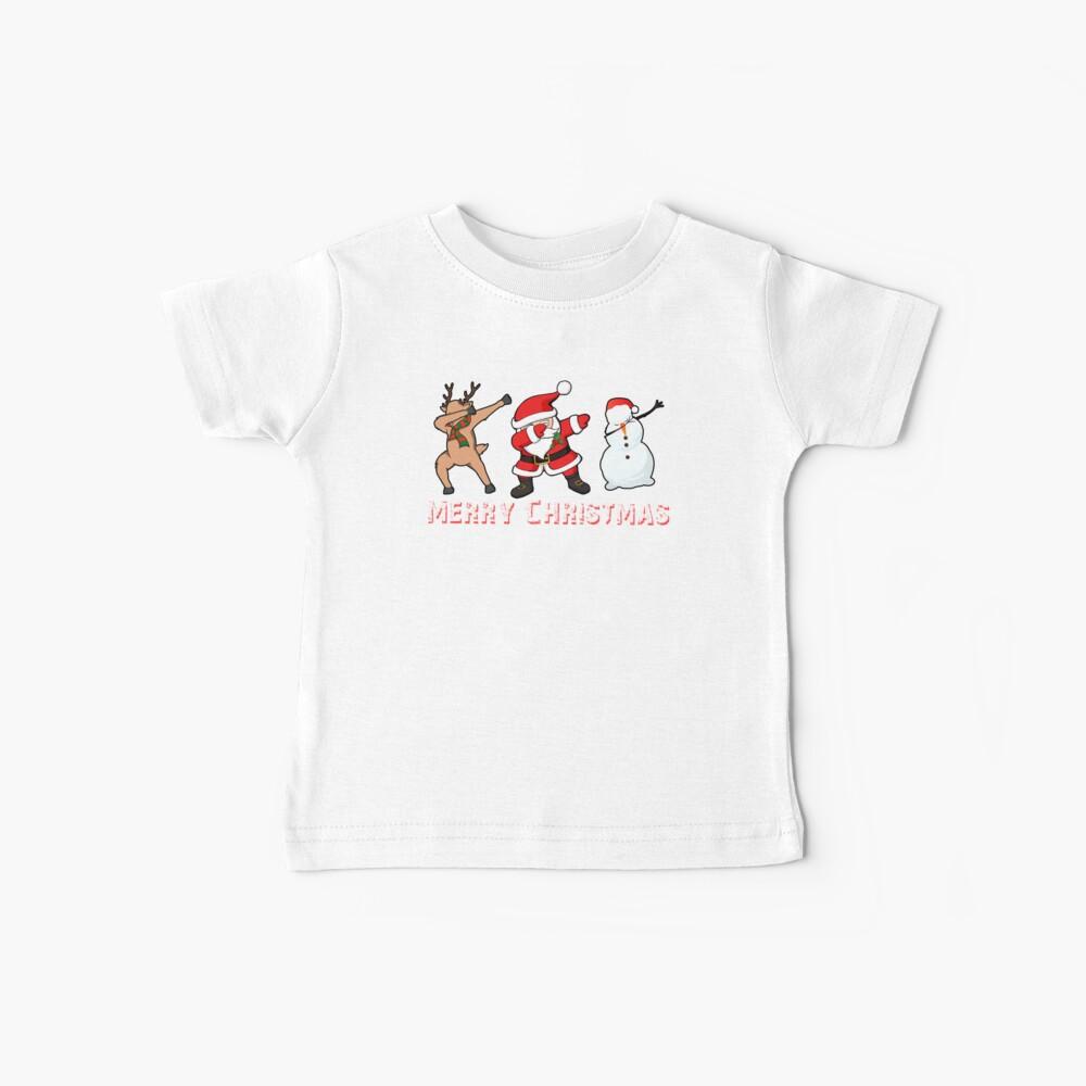 WeihnachtsT-Shirt, das Sankt-Schneemann-Ren-hässliche Strickjacke abtupft Lustiges Weihnachtshemd Baby T-Shirt