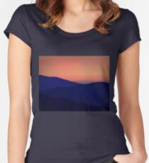 Orange Sorbet Sky and Blue Mountains Women's Fitted Scoop T-Shirt
