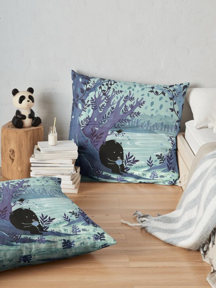 Alternate view of A Quiet Spot of Tea Floor Pillow