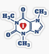I Heart Caffeine Molecules Sticker