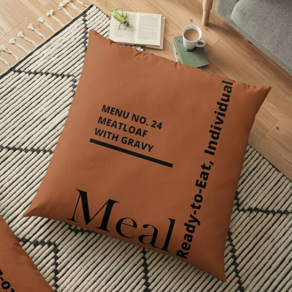 MRE Meal Ready to Eat Meatloaf with Gravy Floor Pillow