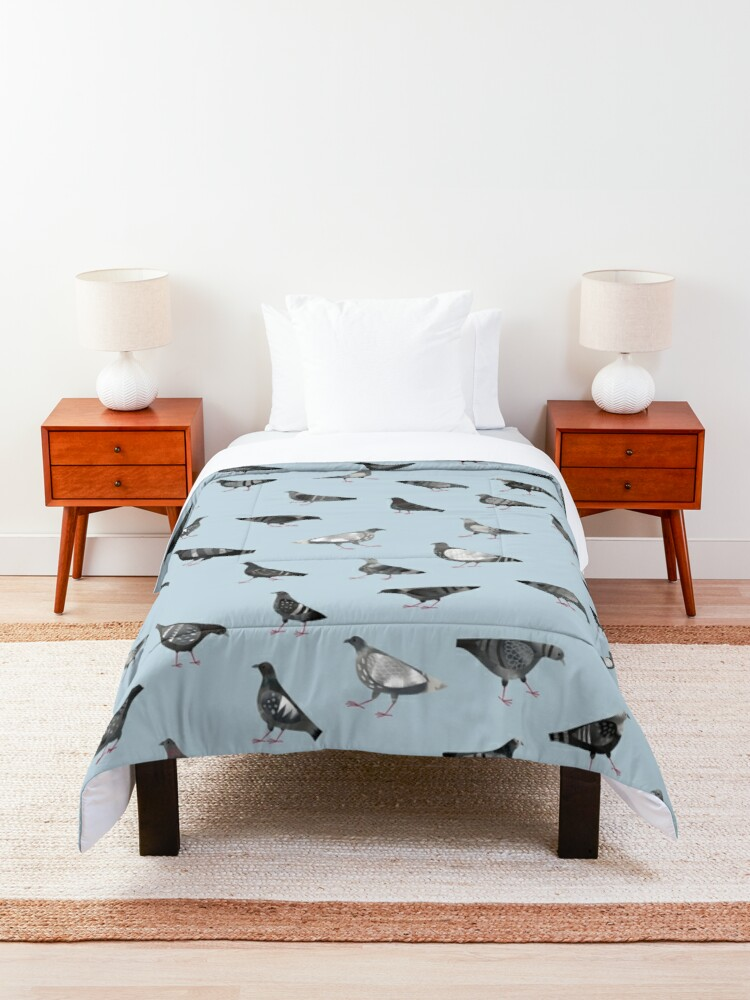 Alternate view of Pigeons Doing Pigeon Things Comforter