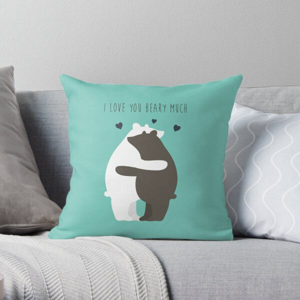 I Love You Beary Much Throw Pillow