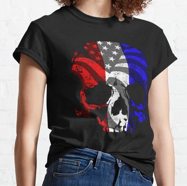 Red White and Blue Skull  Classic T-Shirt