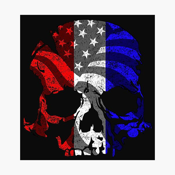 Red White and Blue Skull  Photographic Print