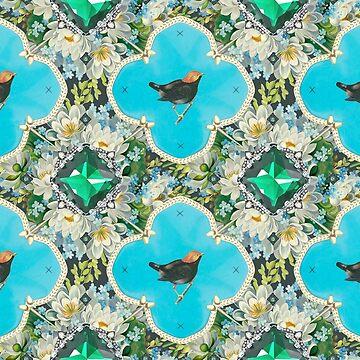 Wallpaper pattern design Bling Birds 4 Edouard Artus by EdouardArtus