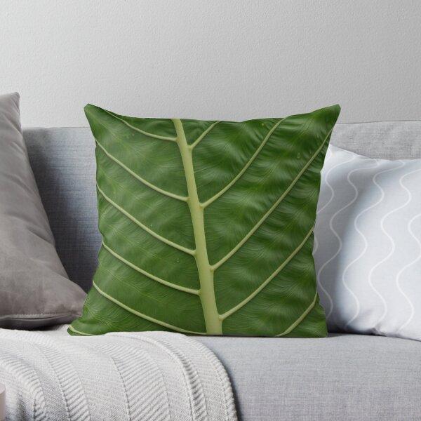 Green Tropical Rainforest Taro Leaf Veins Pattern Throw Pillow