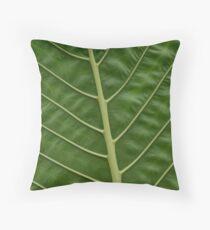 Cojín Patrón de vetas de hoja de Taro de selva tropical verde