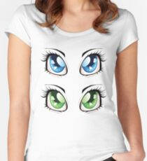 Cartoon female eyes 2 Women's Fitted Scoop T-Shirt