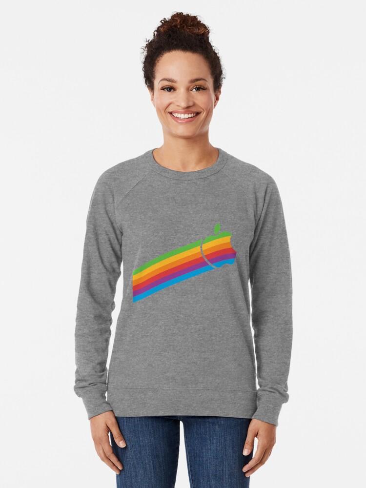 Alternate view of Swoosh Classic Apple Logo iPhone, iPad and Laptop Case Lightweight Sweatshirt