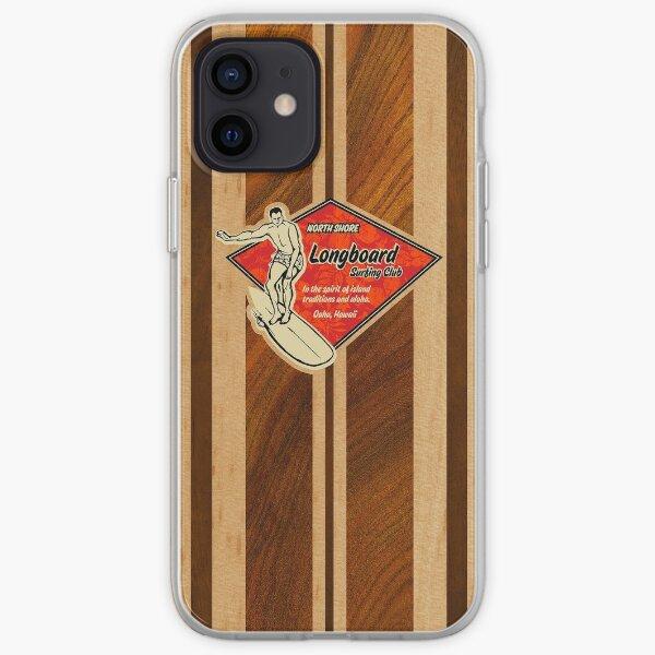 Waimea Hawaiian Faux Koa planche de surf en bois Coque souple iPhone