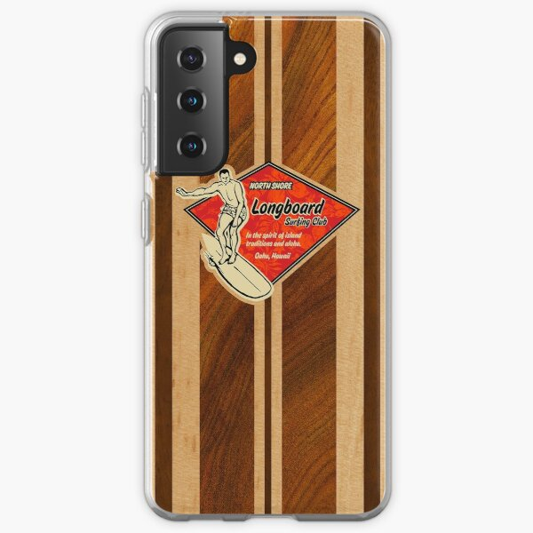 Waimea Hawaiian Faux Koa Wood Surfboard   Samsung Galaxy Soft Case