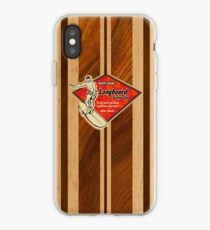Waimea Hawaiian Faux Koa Wood Surfboard   iPhone Case