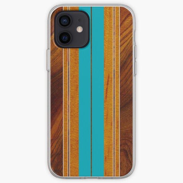 Planche de Surf Nalu Mua Hawaiian Faux Koa Wood - Teal Coque souple iPhone