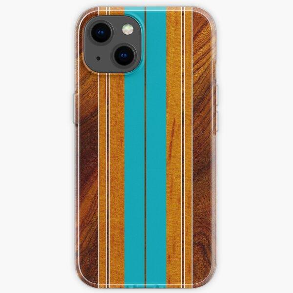Nalu Mua Hawaiian Faux Koa Wood Surfboard - Teal iPhone Soft Case