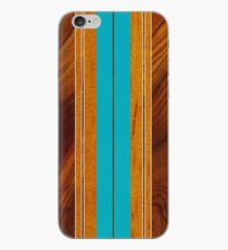 Nalu Mua Hawaiian Faux Koa Wood Surfboard - Teal iPhone Case