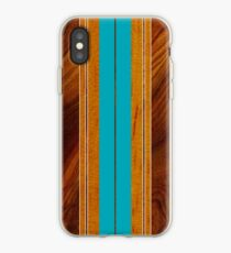 Nalu Mua Hawaiian Faux Koa Wood Surfboard - Teal iPhone Case