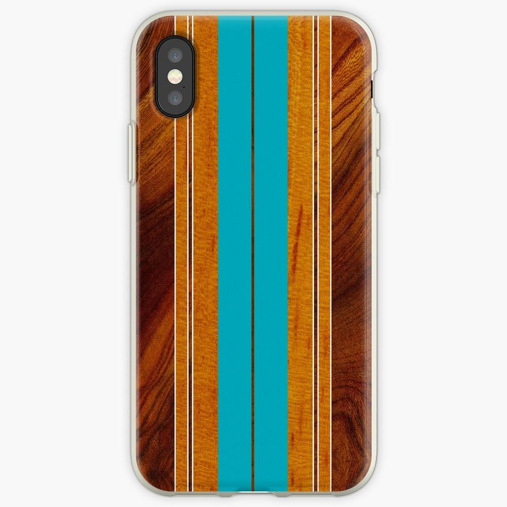 Nalu Mua Hawaiian Faux Koa Wood Surfboard - Teal iPhone Cases & Covers