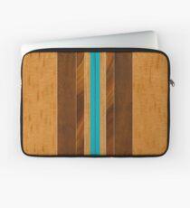 Nalu Mua Hawaiian Faux Koa Wood Surfboard - Teal Laptop Sleeve
