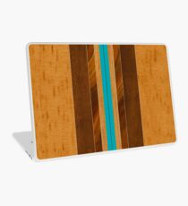 Nalu Mua Hawaiian Faux Koa Wood Surfboard - Teal Laptop Skin