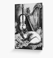 MUSICAL CAT AND OWL WITH MUSIC INSTRUMENTS Black and White Greeting Card