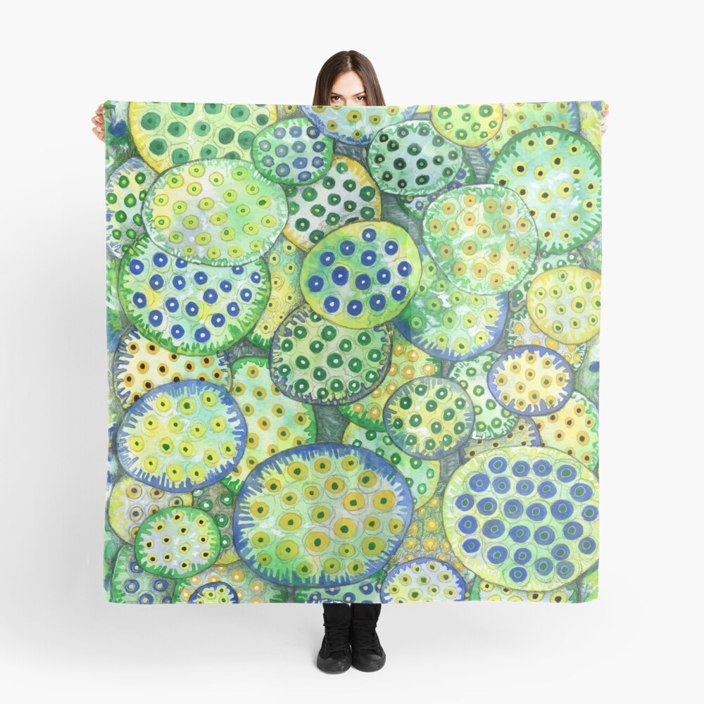Abstract Lotus Seed Pods Scarf