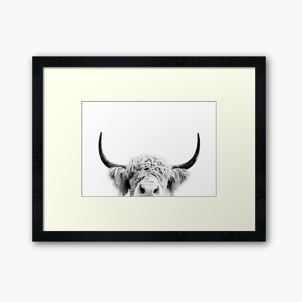 Peeking Cow Framed Art Print
