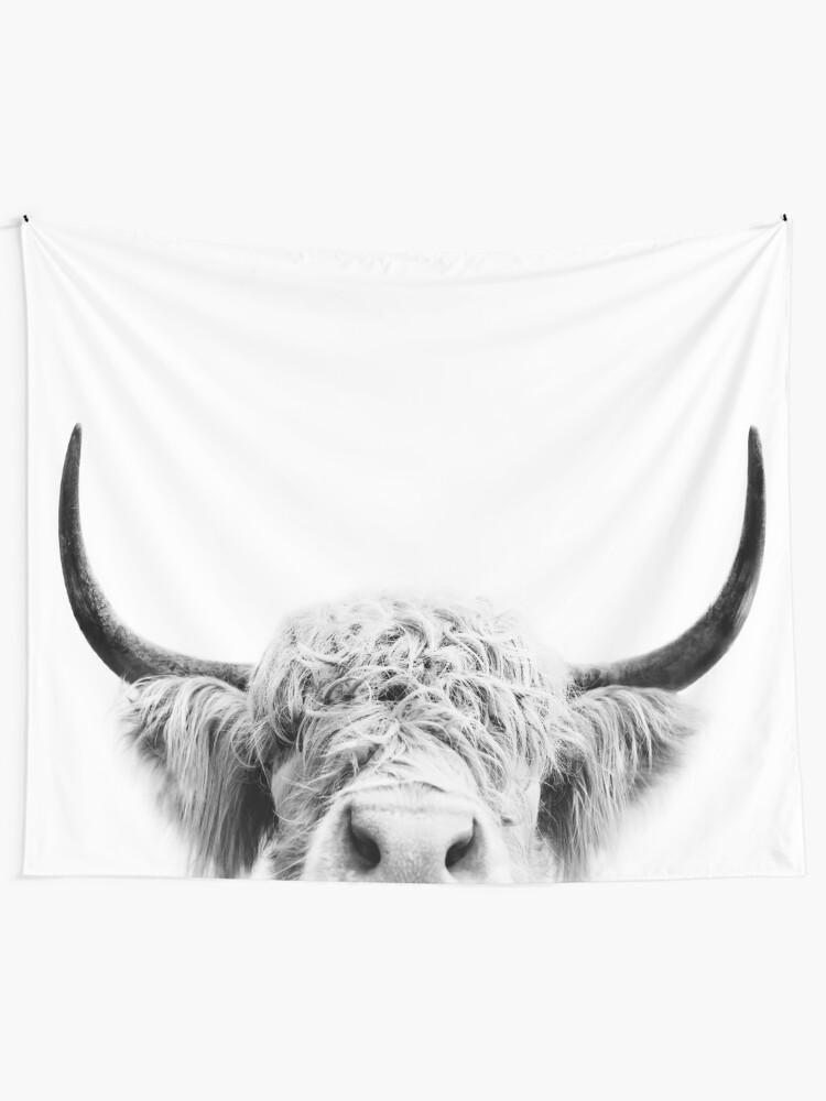 Alternate view of Peeking Cow Tapestry